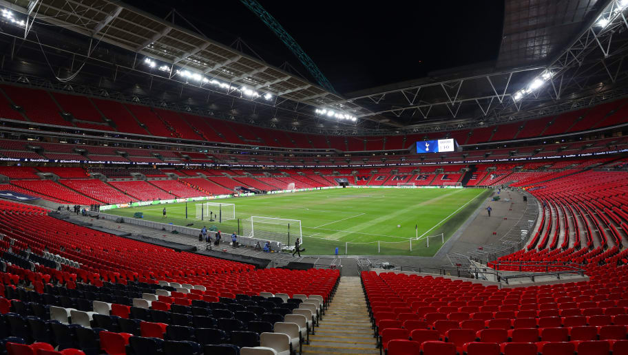 LONDON, ENGLAND - OCTOBER 29:  General view inside the stadium prior to the Premier League match between Tottenham Hotspur and Manchester City at Wembley Stadium on October 29, 2018 in London, United Kingdom.  (Photo by Catherine Ivill/Getty Images)