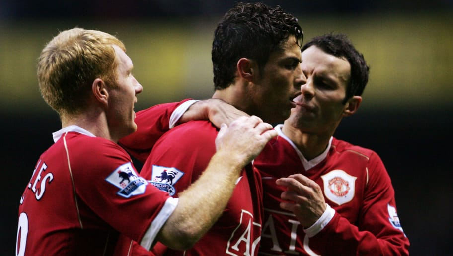 LONDON - FEBRUARY 04:  Cristiano Ronaldo (C) of Manchester United celebrates after scoring a penalty with team mates Paul Scholes and Ryan Giggs during the Barclays Premiership match between Tottenham Hotspur and Manchester United at White Hart Lane on February 4, 2007 in London, England.  (Photo by Phil Cole/Getty Images)