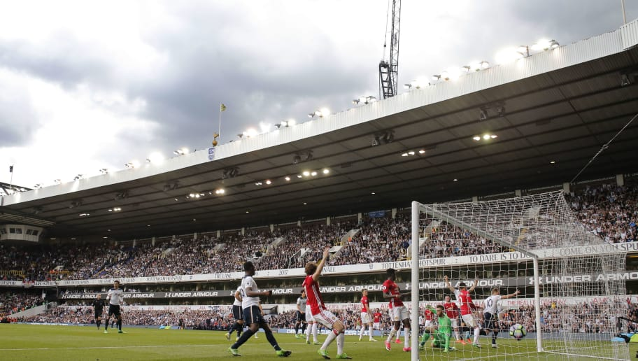 Harry Kane scores the winning and final Spurs goal at the stadium during the Tottenham Hotspur v Manchester United F.A. Premier League match at White Hart Lane on May 14th 2017 in London (Photo by Tom Jenkins)