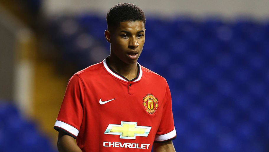 LONDON, ENGLAND - FEBRUARY 09: Marcus Rashford of Man United during the FA Youth Cup Fifth Round match between Tottenham Hotspur and Manchester United at White Hart Lane on February 09, 2015 in London, England. (Photo by Charlie Crowhurst/Getty Images)