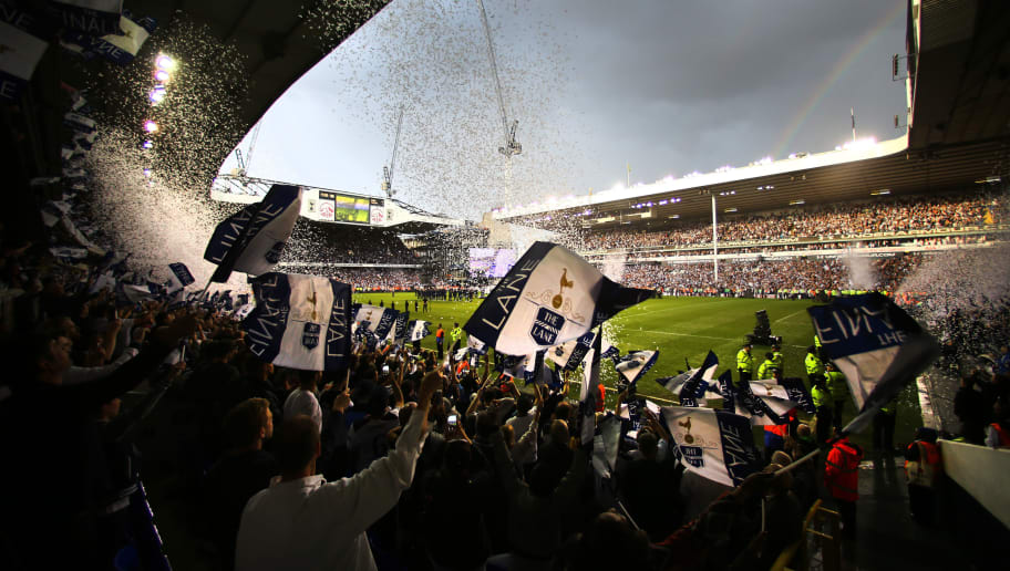 LONDON, ENGLAND - MAY 14:  General view inside the stadium as Tottenham Hotspur fans celebrate after Preimer League match between Tottenham Hotspur and Manchester United at White Hart Lane on May 14, 2017 in London, England. Tottenham Hotspur are playing their last ever home match at White Hart Lane after their 118 year stay at the stadium. Spurs will play at Wembley Stadium next season with a move to a newly built stadium for the 2018-19 campaign.  (Photo by Richard Heathcote/Getty Images )