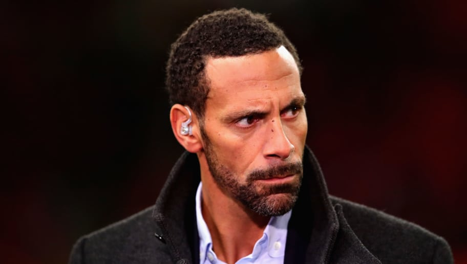 LONDON, ENGLAND - JANUARY 31: Rio Ferdinand looks on before the Premier League match between Tottenham Hotspur and Manchester United at Wembley Stadium on January 31, 2018 in London, England.  (Photo by Chris Brunskill Ltd/Getty Images)