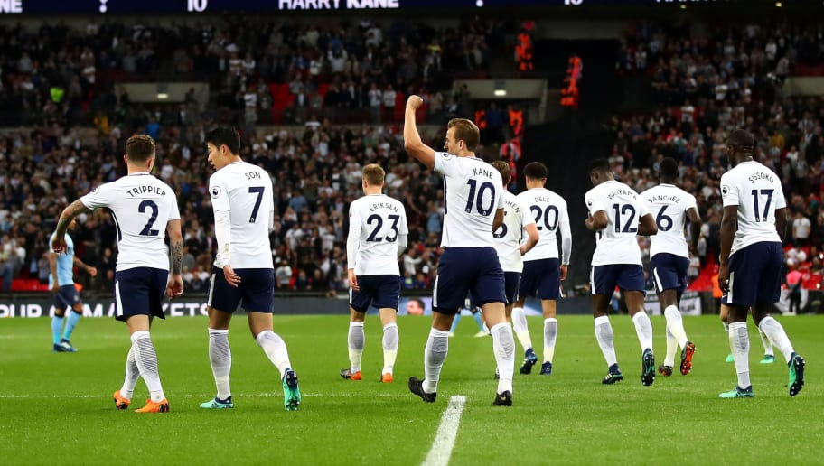 LONDON, ENGLAND - MAY 09:  Harry Kane of Spurs celebrates with team mates after scoring a goal during the Premier League match between Tottenham Hotspur and Newcastle United at Wembley Stadium on May 9, 2018 in London, England.  (Photo by Julian Finney/Getty Images)