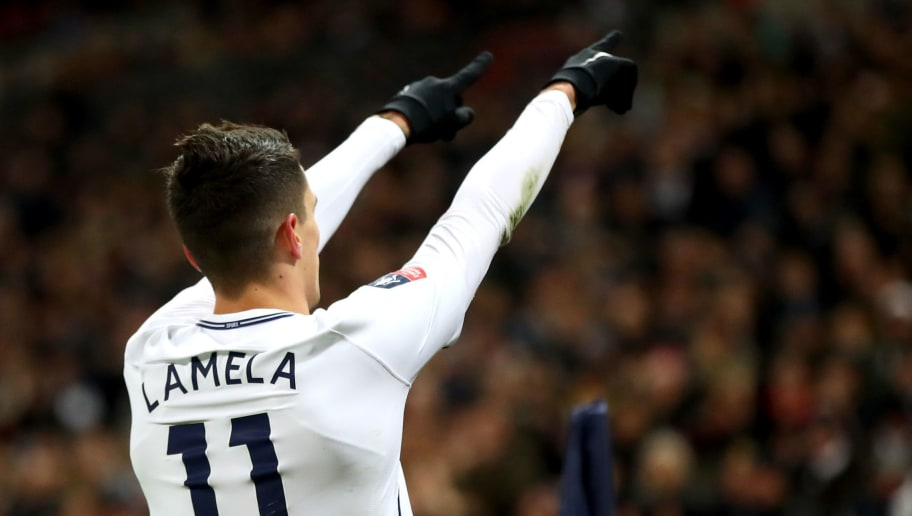 LONDON, ENGLAND - FEBRUARY 07:  Erik Lamela of Tottenham Hotspur celebrates after scoring his sides second goal during The Emirates FA Cup Fourth Round Replay match between Tottenham Hotspur and Newport County at Wembley Stadium on February 7, 2018 in London, England.  (Photo by Julian Finney/Getty Images)