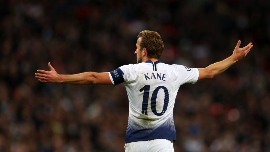 LONDON, ENGLAND - NOVEMBER 06: Harry Kane of Tottenham Hotspur reacts during the Group B match of the UEFA Champions League between Tottenham Hotspur and PSV at Wembley Stadium on November 6, 2018 in London, United Kingdom. (Photo by Catherine Ivill/Getty Images)