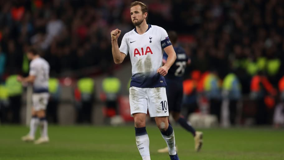 LONDON, ENGLAND - NOVEMBER 06: Harry Kane of Tottenham celebrates at full time after Tottenham come from behind to beat PSV Eindhoven 2-1 keeping their ambitions to reach the knockout stage alive during the Group B match of the UEFA Champions League between Tottenham Hotspur and PSV at Wembley Stadium on November 6, 2018 in London, United Kingdom. (Photo by James Williamson - AMA/Getty Images)
