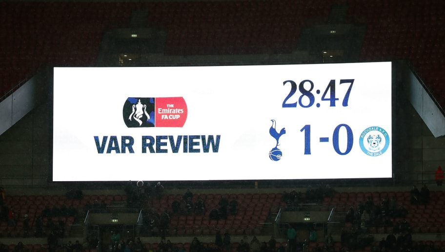 LONDON, ENGLAND - FEBRUARY 28:  A view of the scoreboard as a decision is reviewed by VAR during The Emirates FA Cup Fifth Round Replay match between Tottenham Hotspur and Rochdale on February 28, 2018 in London, United Kingdom.  (Photo by Catherine Ivill/Getty Images)