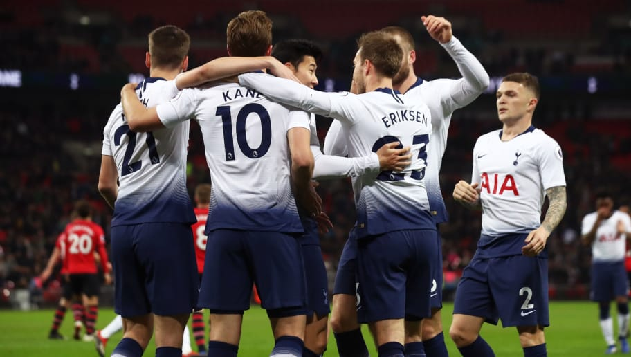 LONDON, ENGLAND - DECEMBER 05:  Harry Kane of Tottenham Hotspur celebrates with team mates after scoring their first goal during the Premier League match between Tottenham Hotspur and Southampton FC at Wembley Stadium on December 5, 2018 in London, United Kingdom.  (Photo by Julian Finney/Getty Images)