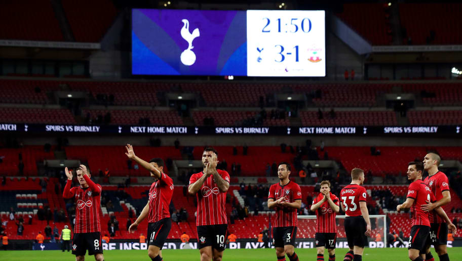 LONDON, ENGLAND - DECEMBER 05:  Southampton players applaud fans during the Premier League match between Tottenham Hotspur and Southampton FC at Wembley Stadium on December 5, 2018 in London, United Kingdom.  (Photo by Julian Finney/Getty Images)
