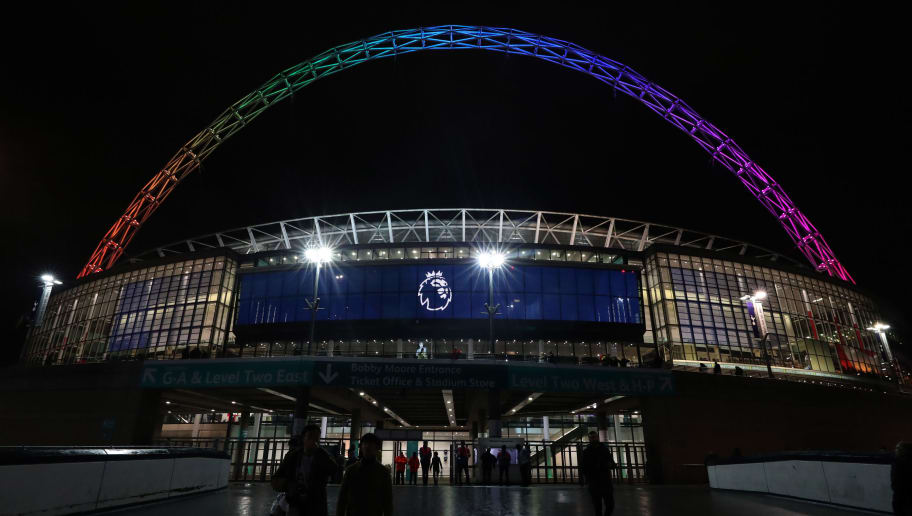 LONDON, ENGLAND - DECEMBER 05: A general view outside the stadium as the Wembley Arch shows the colours of the 'Stonewall Rainbow' campaign above the Premier League logo ahead of the Premier League match between Tottenham Hotspur and Southampton FC at Wembley Stadium on December 5, 2018 in London, United Kingdom. (Photo by Catherine Ivill/Getty Images)