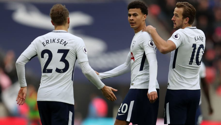 LONDON, ENGLAND - DECEMBER 26: Dele Alli of Tottenham Hotspur celebrates with Harry Kane and Christian Eriksen of Tottenham Hotspur during the Premier League match between Tottenham Hotspur and Southampton at Wembley Stadium on December 26, 2017 in London, England. (Photo by Catherine Ivill/Getty Images)