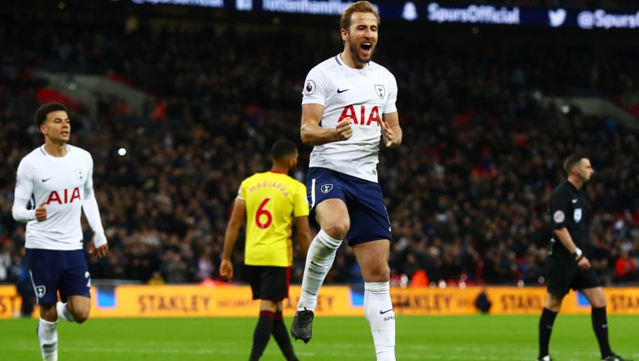 LONDON, ENGLAND - APRIL 30:  Harry Kane of Tottenham Hotspur celebrates scoring his side's second goal during the Premier League match between Tottenham Hotspur and Watford at Wembley Stadium on April 30, 2018 in London, England.  (Photo by Clive Rose/Getty Images)