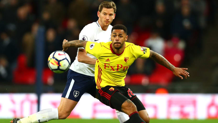 LONDON, ENGLAND - APRIL 30:  Jan Vertonghen of Tottenham Hotspur puts pressure on Andre Gray of Watford during the Premier League match between Tottenham Hotspur and Watford at Wembley Stadium on April 30, 2018 in London, England.  (Photo by Clive Rose/Getty Images)