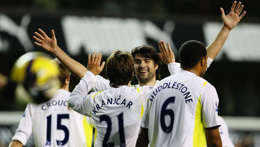 LONDON, ENGLAND - NOVEMBER 22:  Niko Kranjcar of Tottenham Hotspur celebrates scoring their ninth goal during the Barclays Premier League match between Tottenham Hotspur and Wigan Athletic at White Hart Lane on November 22, 2009 in London, England.  (Photo by Clive Rose/Getty Images)