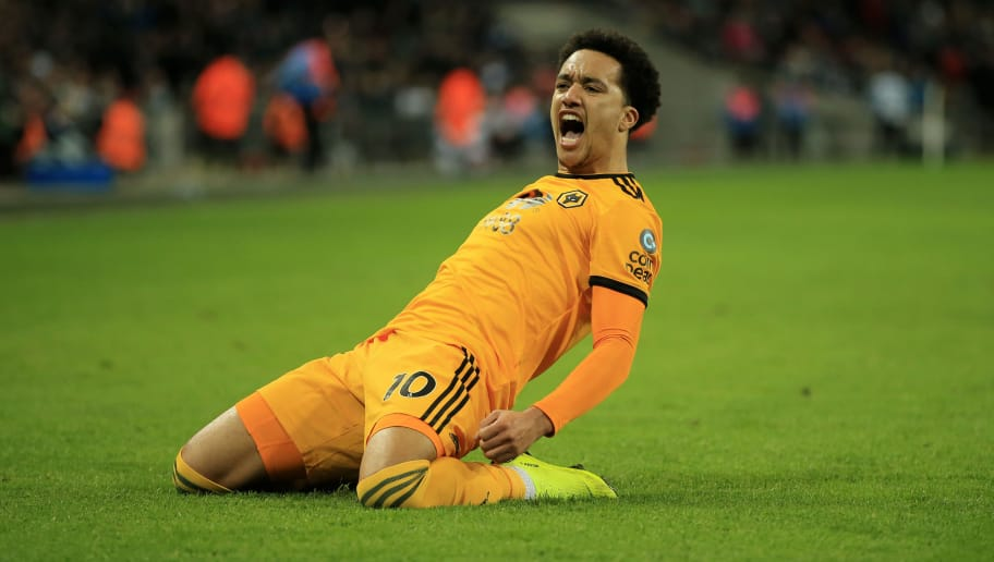 LONDON, ENGLAND - DECEMBER 29:  Helder Costa of Wolverhampton Wanderers celebrates after scoring his team's third goal during the Premier League match between Tottenham Hotspur and Wolverhampton Wanderers at Tottenham Hotspur Stadium on December 29, 2018 in London, United Kingdom.  (Photo by Marc Atkins/Getty Images)
