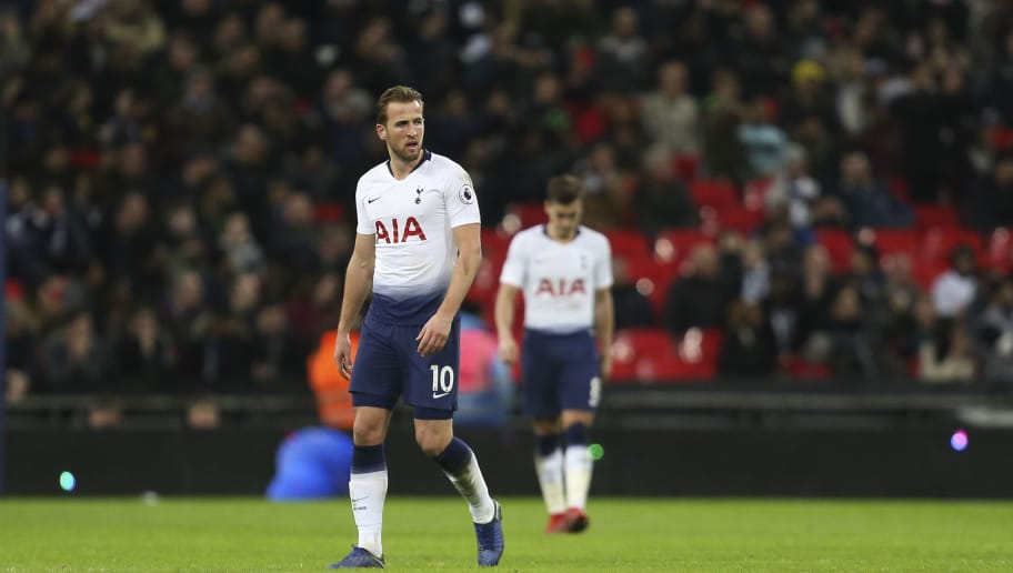 LONDON, ENGLAND - DECEMBER 29: A dejected Harry Kane of Tottenham Hotspur during the Premier League match between Tottenham Hotspur and Wolverhampton Wanderers at Wembley Stadium on December 29, 2018 in London, United Kingdom. (Photo by James Baylis - AMA/Getty Images)