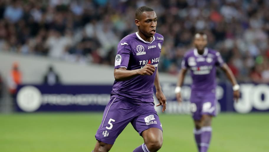TOULOUSE, FRANCE - MAY 19: Issa Diop of Toulouse in action during the Ligue 1 match between Toulouse and EA Guingamp at Stadium Municipal on May 19, 2018 in Toulouse, . (Photo by Romain Perrocheau/Getty Images,)
