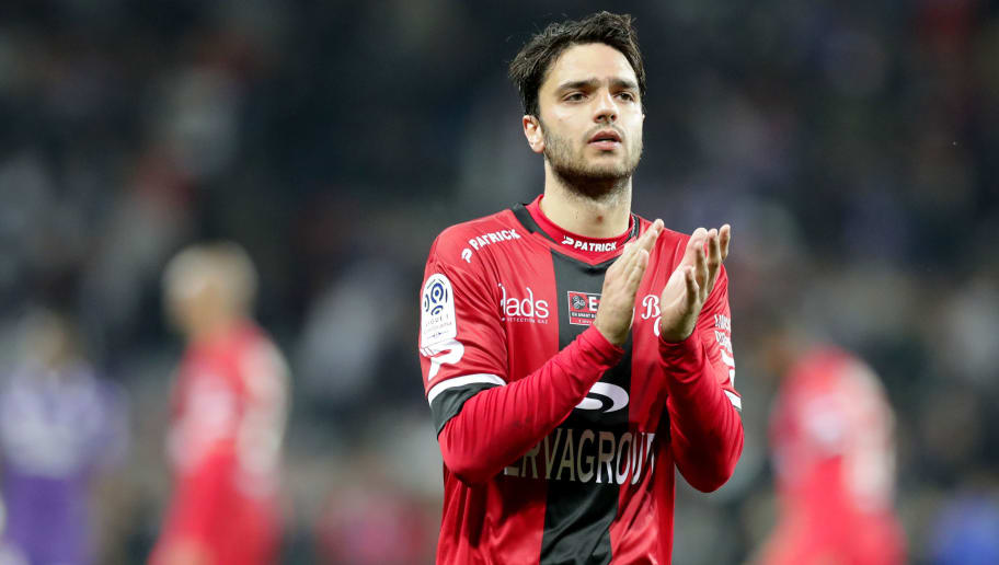 TOULOUSE, FRANCE - MAY 19: Clement Grenier of Guingamp waves fans after the Ligue 1 match between Toulouse and EA Guingamp at Stadium Municipal on May 19, 2018 in Toulouse, . (Photo by Romain Perrocheau/Getty Images,)