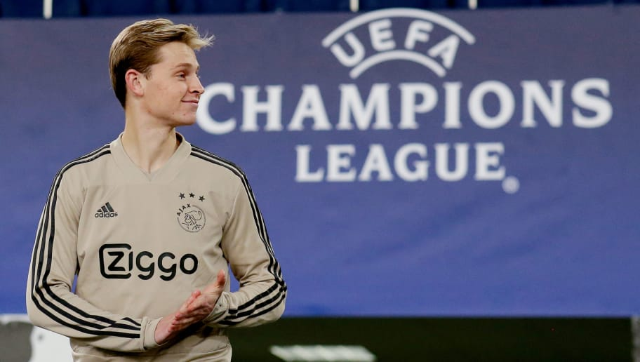 ATHENS, GREECE - NOVEMBER 26: Frenkie de Jong of Ajax  during the   Training Ajax in Athens at the Olympisch Stadion Spyridon Louis on November 26, 2018 in Athens Greece (Photo by Erwin Spek/Soccrates/Getty Images)