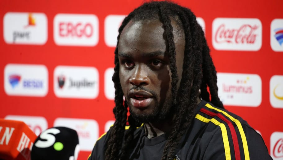 TUBIZE, BELGIUM - MAY 30: Jordan LUKAKU talks to the press after a training session of the Belgian national soccer team ' Red Devils ' at the Belgian National Football Center, as part of preparations for the 2018 FIFA World Cup in Russia, on May 30, 2018 in Tubize, Belgium. Photo by Vincent Van Doornick - Isosport