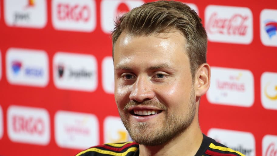 TUBIZE,BELGIUM - JUNE 4: Simon MIGNOLET talks to the press after a training session of the Belgian national soccer team ' Red Devils ' at the Belgian National Football Center, as part of preparations for the 2018 FIFA World Cup in Russia, on June 4, 2018 in Tubize, Belgium. Photo by Vincent Van Doornick - Isosport