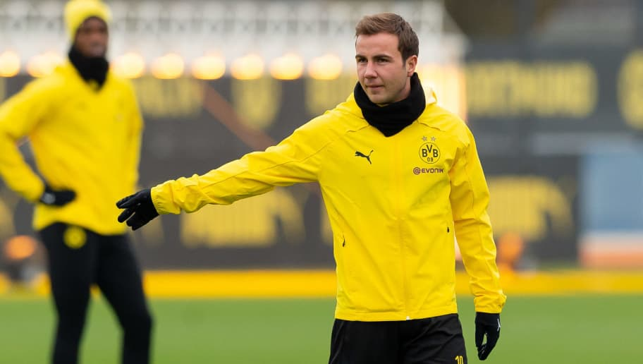 DORTMUND, GERMANY - NOVEMBER 27: Mario Goetze of Borussia Dortmund looks on during a Borussia Dortmund training session ahead of the UEFA Champions League match between Borussia Dortmund and Club Brugge on November 27, 2018 in Dortmund, Germany. (Photo by TF-Images/Getty Images)