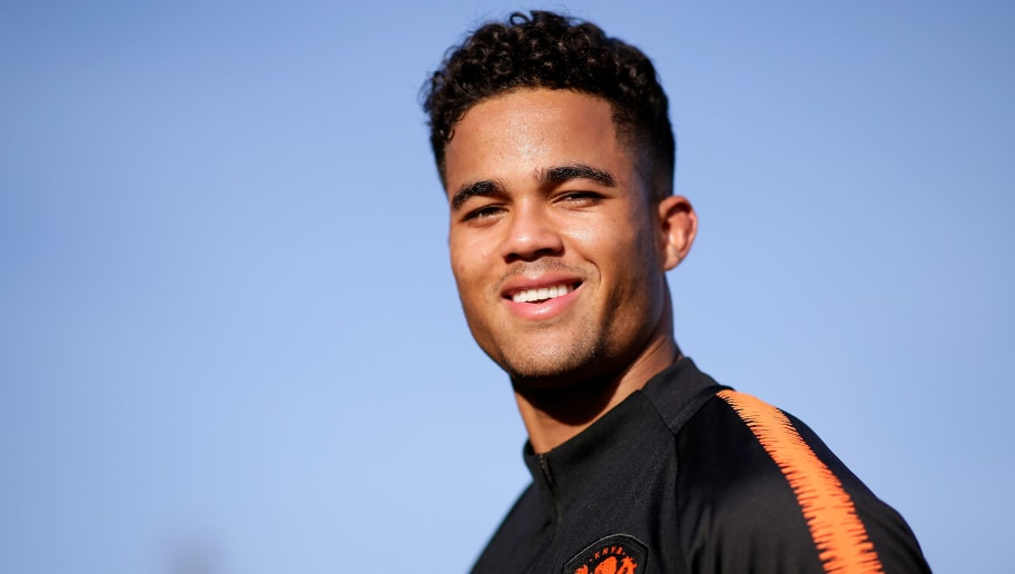 KATWIJK, NETHERLANDS - OCTOBER 9: Justin Kluivert of Holland U21  during the   Training Holland U21 at the Laan van Nieuw Zuid on October 9, 2018 in Katwijk Netherlands (Photo by Erwin Spek/Soccrates/Getty Images)
