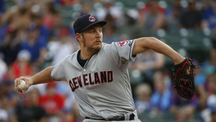 ARLINGTON, TX - JULY 20: Trevor Bauer #47 of the Cleveland Indians throws against the Texas Rangers during the first inning at Globe Life Park in Arlington on July 20, 2018 in Arlington, Texas. (Photo by Ron Jenkins/Getty Images)