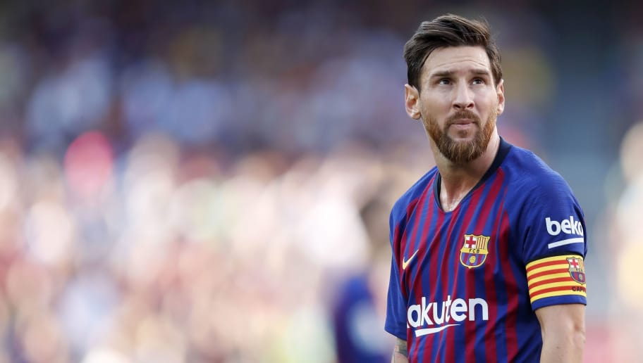 Lionel Messi of FC Barcelona during the Trofeu Joan Gamper match between FC Barcelona and Boca Juniors at the Camp Nou stadium on August 15, 2018 in Barcelona, Spain(Photo by VI Images via Getty Images)