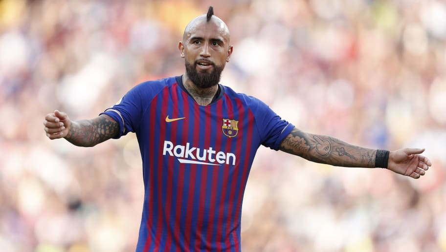 Arturo Vidal of FC Barcelona during the Trofeu Joan Gamper match between FC Barcelona and Boca Juniors at the Camp Nou stadium on August 15, 2018 in Barcelona, Spain(Photo by VI Images via Getty Images)