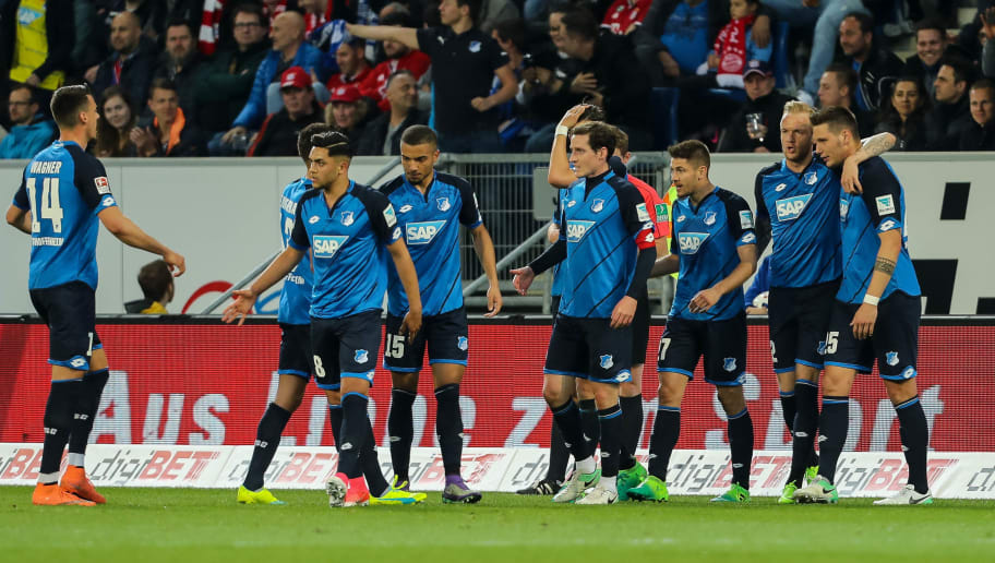 SINSHEIM, GERMANY - APRIL 04: Andrej Kramaric of Hoffenheim celebrates his team's first goal with his team mates during the Bundesliga match between TSG 1899 Hoffenheim and Bayern Muenchen at Wirsol Rhein-Neckar-Arena on April 4, 2017 in Sinsheim, Germany. (Photo by TF-Images/Getty Images)