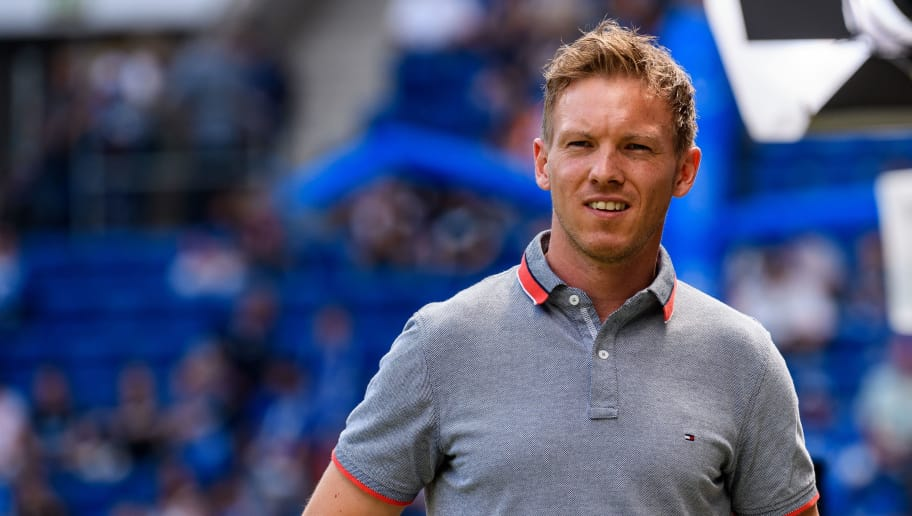 SINSHEIM, GERMANY - MAY 12: Head coach Julian Nagelsmann of Hoffenheim is seen during the Bundesliga match between TSG 1899 Hoffenheim and Borussia Dortmund at Wirsol Rhein-Neckar-Arena on May 12, 2018 in Sinsheim, Germany. (Photo by Alexander Scheuber/Bongarts/Getty Images)