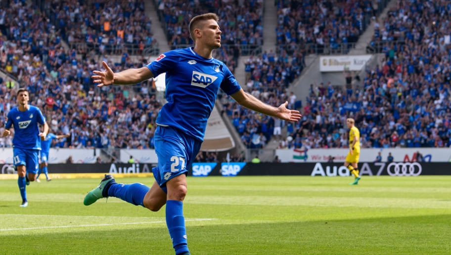 SINSHEIM, GERMANY - MAY 12: Andrej Kramaric of Hoffenheim celebrates the first goal for his team during the Bundesliga match between TSG 1899 Hoffenheim and Borussia Dortmund at Wirsol Rhein-Neckar-Arena on May 12, 2018 in Sinsheim, Germany. (Photo by Alexander Scheuber/Bongarts/Getty Images)