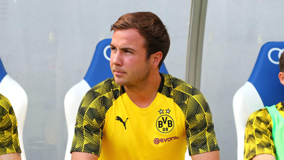 SINSHEIM, GERMANY - MAY 12: Mario Goetze of Dortmund sits on the bench prior to the Bundesliga match between TSG 1899 Hoffenheim and Borussia Dortmund at Wirsol Rhein-Neckar-Arena on May 12, 2018 in Sinsheim, Germany. (Photo by TF-Images/Getty Images)