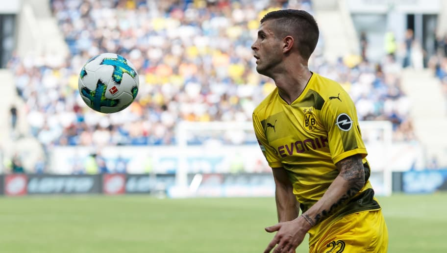 SINSHEIM, GERMANY - MAY 12: Christian Pulisic of Dortmund controls the ball during the Bundesliga match between TSG 1899 Hoffenheim and Borussia Dortmund at Wirsol Rhein-Neckar-Arena on May 12, 2018 in Sinsheim, Germany. (Photo by TF-Images/Getty Images)
