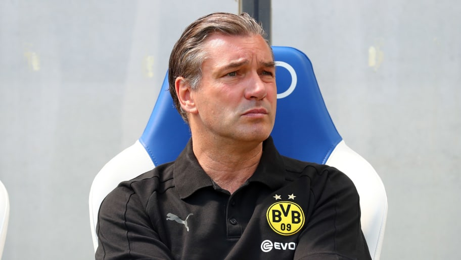 SINSHEIM, GERMANY - MAY 12: Sporting director Michael Zorc of Dortmund looks on prior to the Bundesliga match between TSG 1899 Hoffenheim and Borussia Dortmund at Wirsol Rhein-Neckar-Arena on May 12, 2018 in Sinsheim, Germany. (Photo by TF-Images/Getty Images)