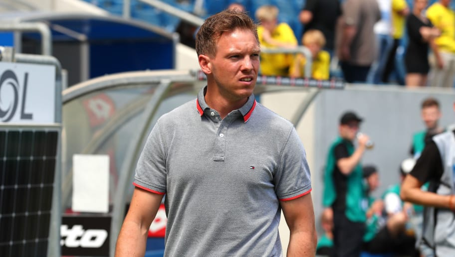 SINSHEIM, GERMANY - MAY 12: Head coach Julian Nagelsmann of Hoffenheim looks on prior to the Bundesliga match between TSG 1899 Hoffenheim and Borussia Dortmund at Wirsol Rhein-Neckar-Arena on May 12, 2018 in Sinsheim, Germany. (Photo by TF-Images/Getty Images)