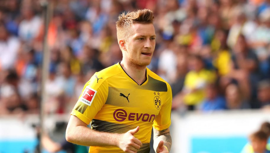 SINSHEIM, GERMANY - MAY 12: Marco Reus of Dortmund looks on during the Bundesliga match between TSG 1899 Hoffenheim and Borussia Dortmund at Wirsol Rhein-Neckar-Arena on May 12, 2018 in Sinsheim, Germany. (Photo by TF-Images/Getty Images)
