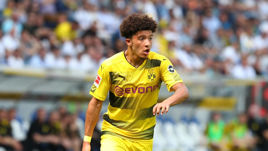 SINSHEIM, GERMANY - MAY 12: Jadon Malik Sancho of Dortmund controls the ball during the Bundesliga match between TSG 1899 Hoffenheim and Borussia Dortmund at Wirsol Rhein-Neckar-Arena on May 12, 2018 in Sinsheim, Germany. (Photo by TF-Images/Getty Images)