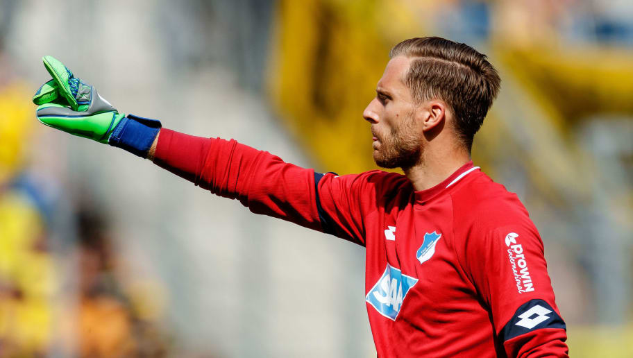 SINSHEIM, GERMANY - MAY 12:-> GoalkeeperOliver Baumann of Hoffenheim gestures during the Bundesliga match between TSG 1899 Hoffenheim and Borussia Dortmund at Wirsol Rhein-Neckar-Arena on May 12, 2018 in Sinsheim, Germany. (Photo by TF-Images/Getty Images)