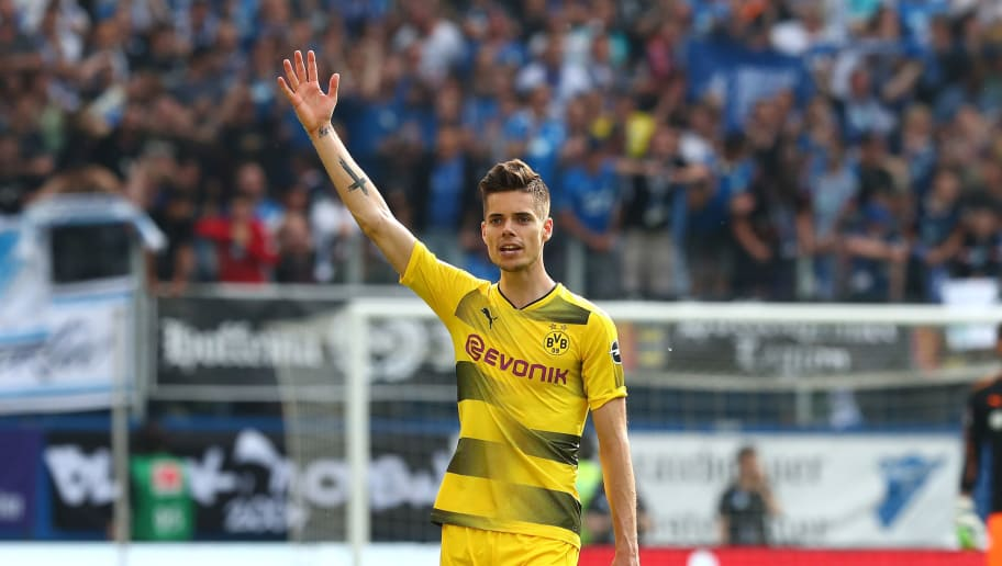 SINSHEIM, GERMANY - MAY 12: Julian Weigl of Dortmund gestures during the Bundesliga match between TSG 1899 Hoffenheim and Borussia Dortmund at Wirsol Rhein-Neckar-Arena on May 12, 2018 in Sinsheim, Germany. (Photo by TF-Images/Getty Images)