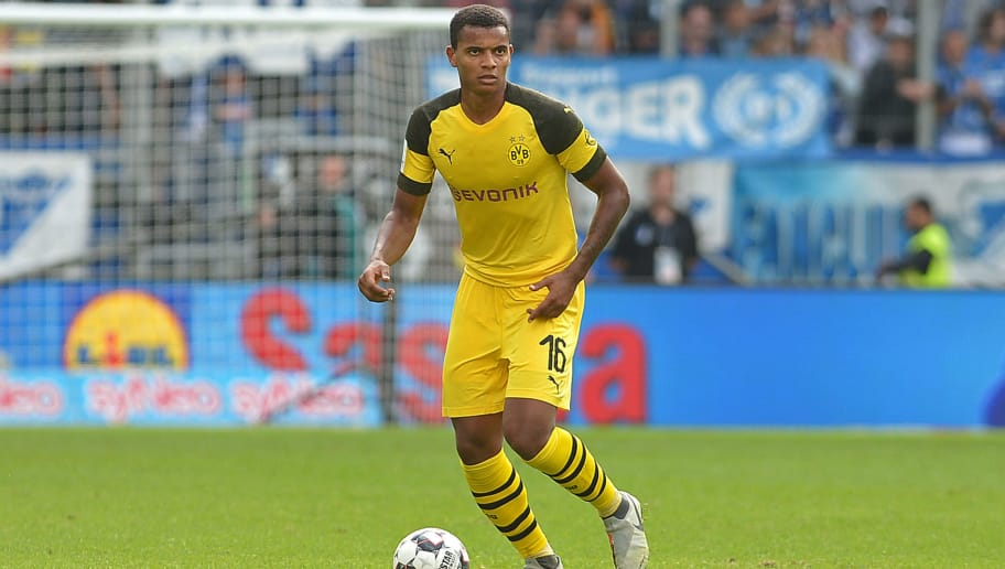 SINSHEIM, GERMANY - SEPTEMBER 22: Manuel Akanji of Borussia Dortmund controls the ball during the Bundesliga match between TSG 1899 Hoffenheim and Borussia Dortmund at Wirsol Rhein-Neckar-Arena on September 22, 2018 in Sinsheim, Germany. (Photo by TF-Images/Getty Images)