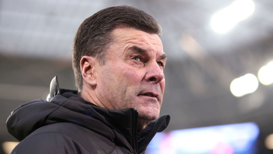 SINSHEIM, GERMANY - DECEMBER 15: Head coach Dieter Hecking of Moenchengladbach reacts during the Bundesliga match between TSG 1899 Hoffenheim and Borussia Moenchengladbach at Wirsol Rhein-Neckar-Arena on December 15, 2018 in Sinsheim, Germany. (Photo by Alex Grimm/Bongarts/Getty Images)