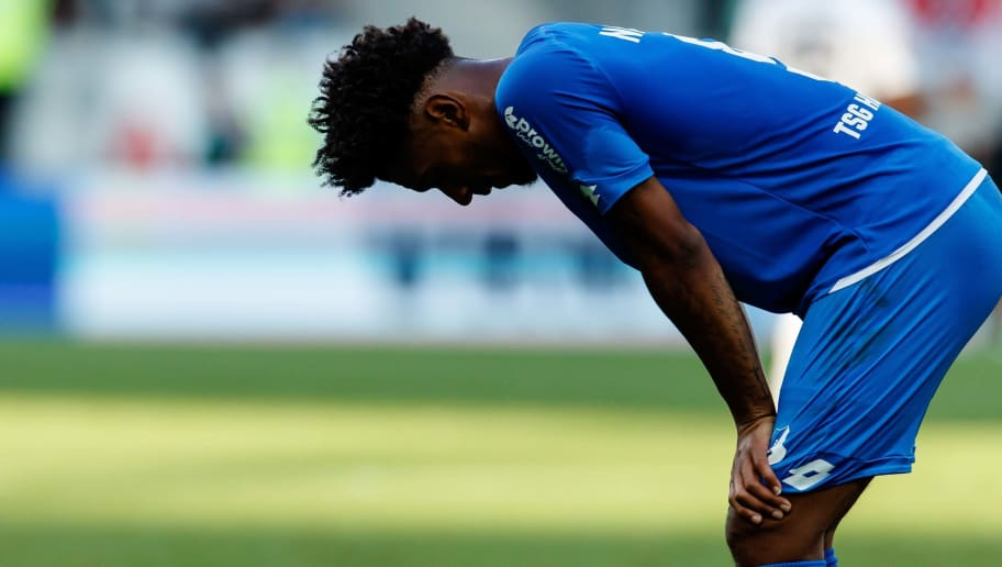 SINSHEIM, GERMANY - OCTOBER 07: Reiss Nelson of Hoffenheim looks dejected during the Bundesliga match between TSG 1899 Hoffenheim and Eintracht Frankfurt at Wirsol Rhein-Neckar-Arena on October 7, 2018 in Sinsheim, Germany. (Photo by TF-Images/Getty Images)