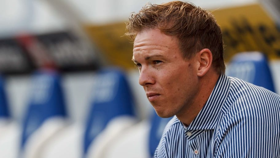 SINSHEIM, GERMANY - OCTOBER 07: Head coach Julian Nagelsmann of Hoffenheim looks on prior to the Bundesliga match between TSG 1899 Hoffenheim and Eintracht Frankfurt at Wirsol Rhein-Neckar-Arena on October 7, 2018 in Sinsheim, Germany. (Photo by TF-Images/Getty Images)