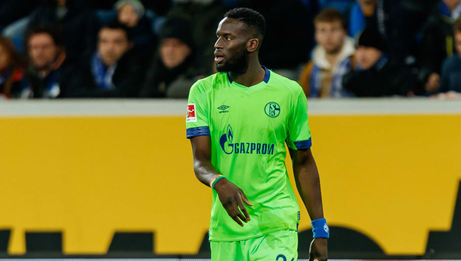 SINSHEIM, GERMANY - DECEMBER 01: Salif Sane of Schalke looks on during the Bundesliga match between TSG 1899 Hoffenheim and FC Schalke 04 at Wirsol Rhein-Neckar-Arena on December 01, 2018 in Sinsheim, Germany. (Photo by TF-Images/TF-Images via Getty Images)