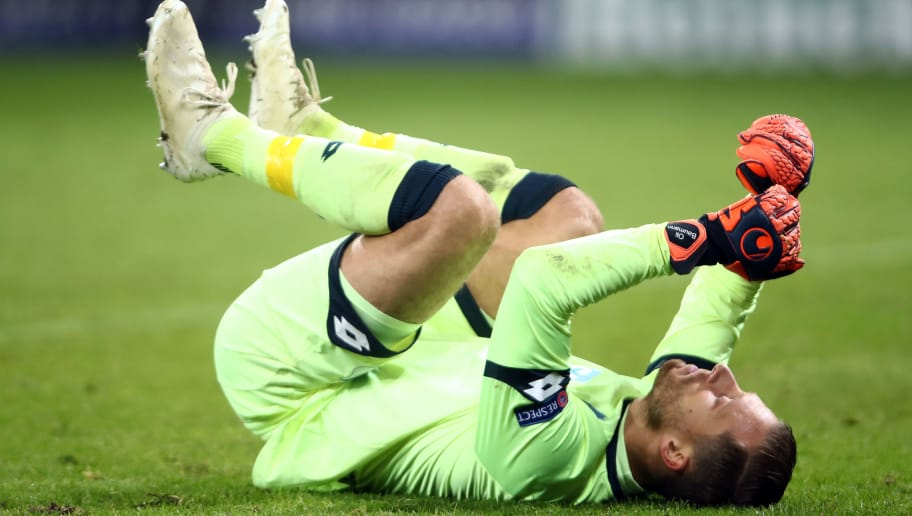 SINSHEIM, GERMANY - NOVEMBER 27: Goalkeeper Oliver Baumann of Hoffenheim reacts after the Group F match of the UEFA Champions League between TSG 1899 Hoffenheim and FC Shakhtar Donetsk at Wirsol Rhein-Neckar-Arena on November 27, 2018 in Sinsheim, Germany. (Photo by Alex Grimm/Getty Images)