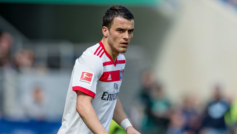 SINSHEIM, GERMANY - APRIL 14: Filip Kostic of Hamburg looks on during the Bundesliga match between TSG 1899 Hoffenheim and Hamburger SV at Wirsol Rhein-Neckar-Arena on April 14, 2018 in Sinsheim, Germany. (Photo by TF-Images/Getty Images)