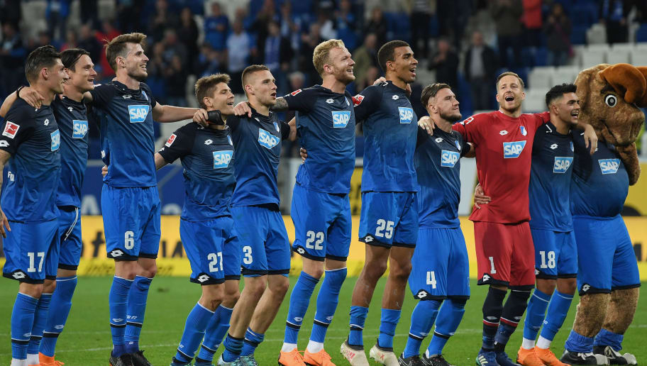 SINSHEIM, GERMANY - APRIL 27: The players of Hoffenheim celebrate with the fans after the Bundesliga match between TSG 1899 Hoffenheim and Hannover 96 at Wirsol Rhein-Neckar-Arena on April 27, 2018 in Sinsheim, Germany. (Photo by Matthias Hangst/Bongarts/Getty Images)