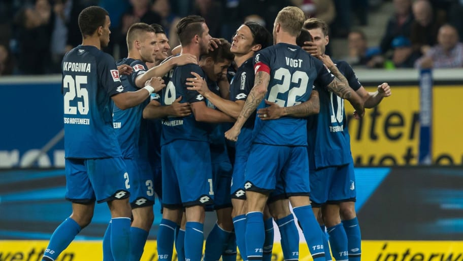 SINSHEIM, GERMANY - APRIL 27: Andrej Kramaric of Hoffenheim celebrates after scoring his team`s second goal with team mates during the Bundesliga match between TSG 1899 Hoffenheim and Hannover 96 at Wirsol Rhein-Neckar-Arena on April 27, 2018 in Sinsheim, Germany. (Photo by TF-Images/Getty Images)